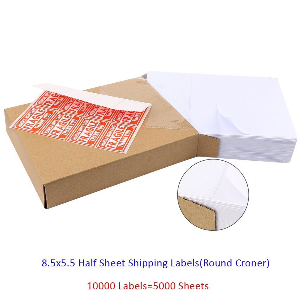 10000 half sheet shipping labels 85x55 round corner self for Half page shipping labels