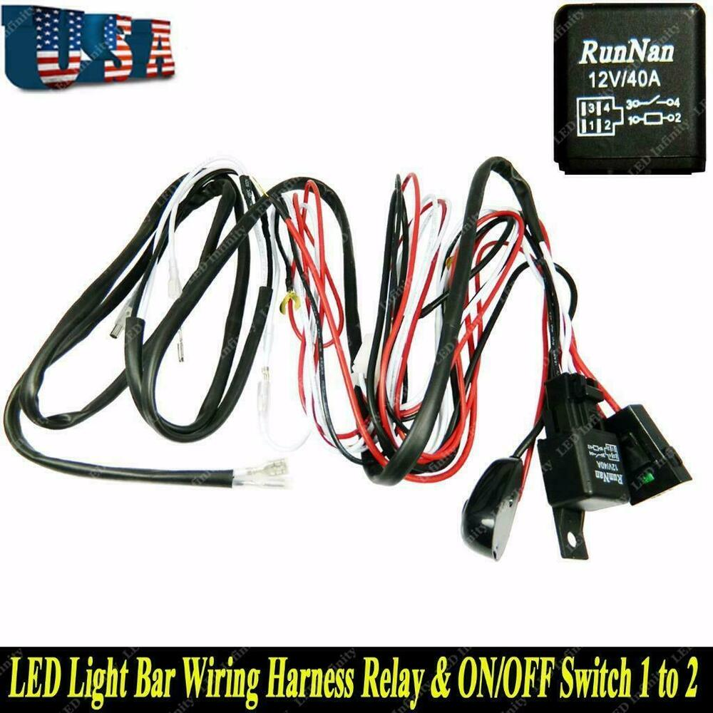 Led Light Bar 40a Wiring Harness Relay Kit On Off Switch For 2 Lamps Universal Ebay
