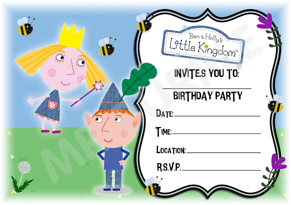A5 CHILDRENS PARTY INVITATIONS X 12-BEN AND HOLLY\'S MAGICAL KINGDOM ...