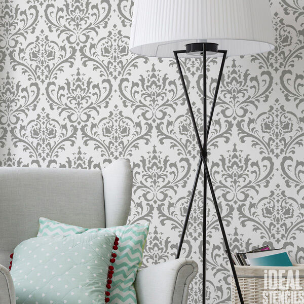 Damask damascus stencil wall pattern stencil decorating for Pittura muro