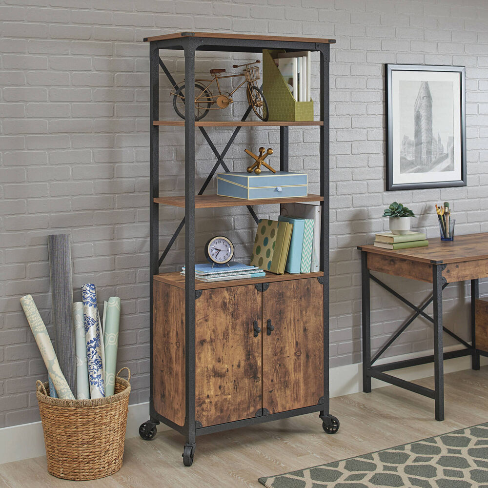 Rustic Country Bookcase With Doors Library Industrial Style Weathered  Storage | EBay