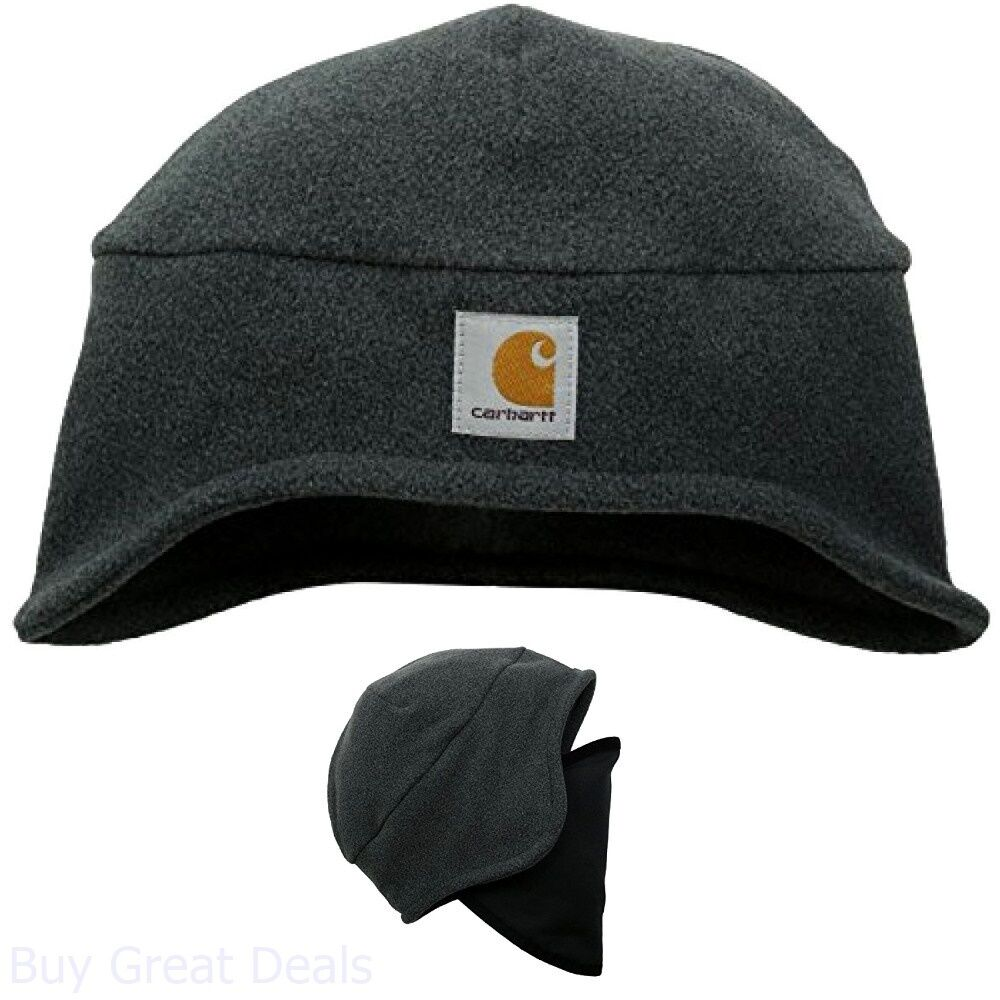 7bb90a36d03 Details about Fleece Hat Carhartt Mens 2 In 1 Head Wear Charcoal Heather  One Size Polyester
