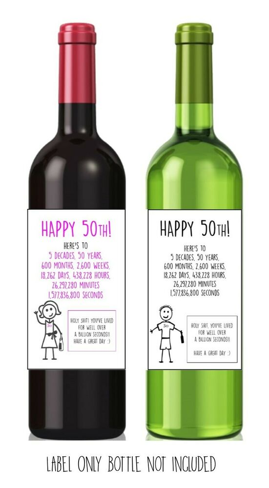 Details About Funny Alternative Sarcastic WINE LABEL 50th Birthday Present Gift Him Her
