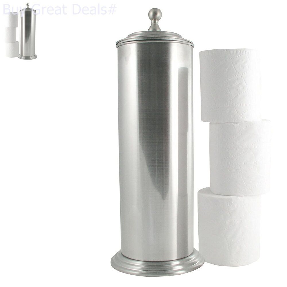 Brushed Nickel Holder Bathroom Tissue Stand Lid Extra Toilet Paper Roll  Storage
