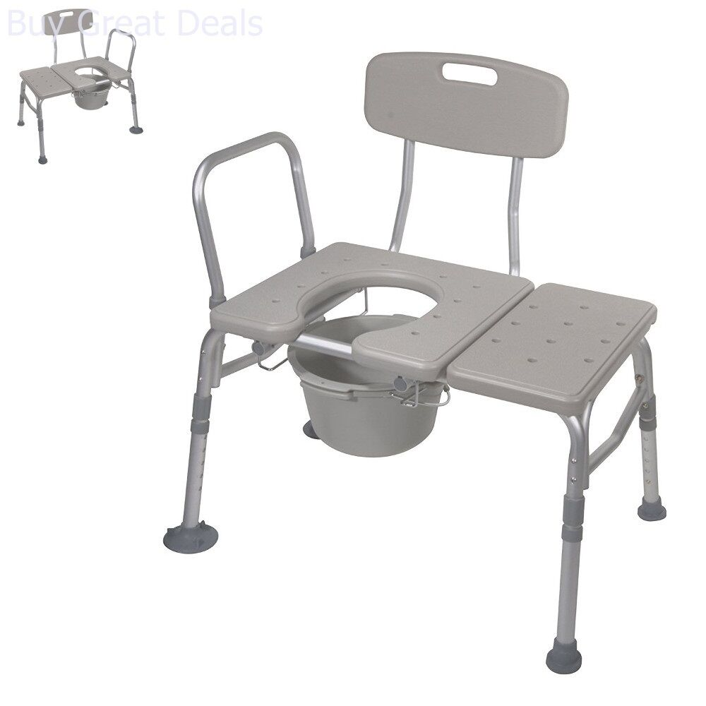 Handicap Padded Seat Transfer Chair Bench Commode Toilet