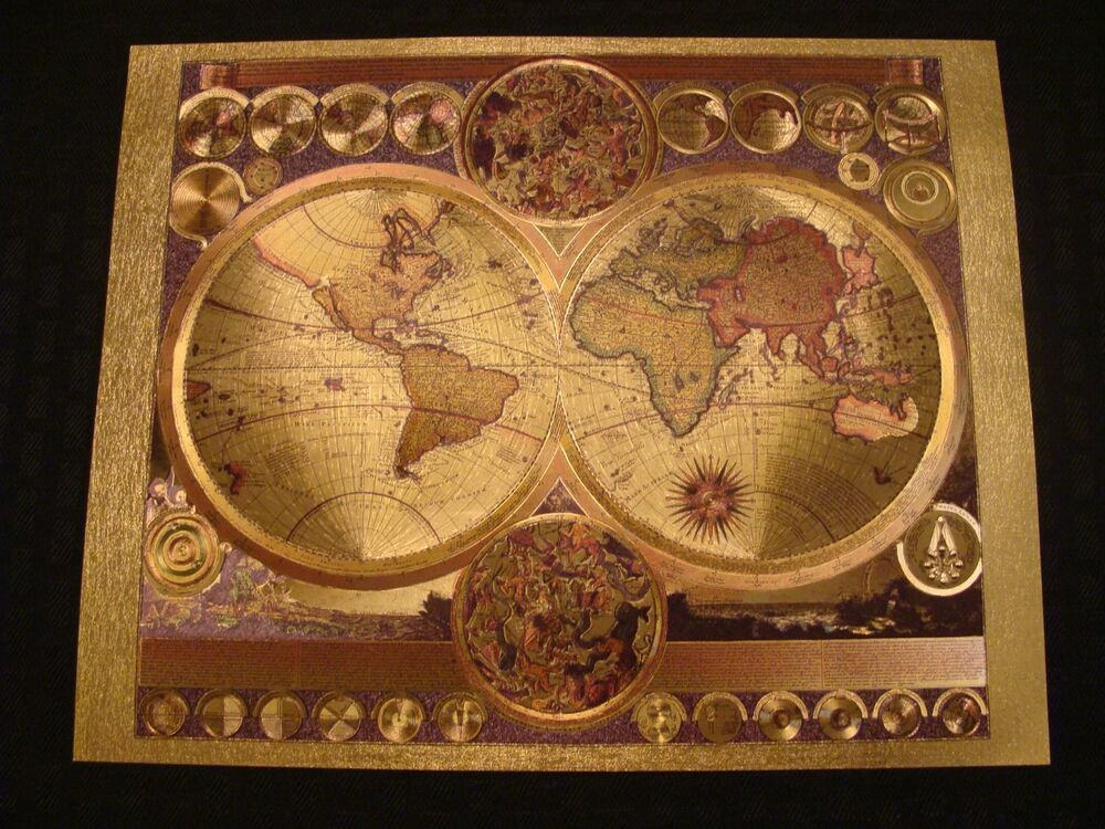 Gold foil world map astrological art nova totivis latin sun ebay gumiabroncs Gallery