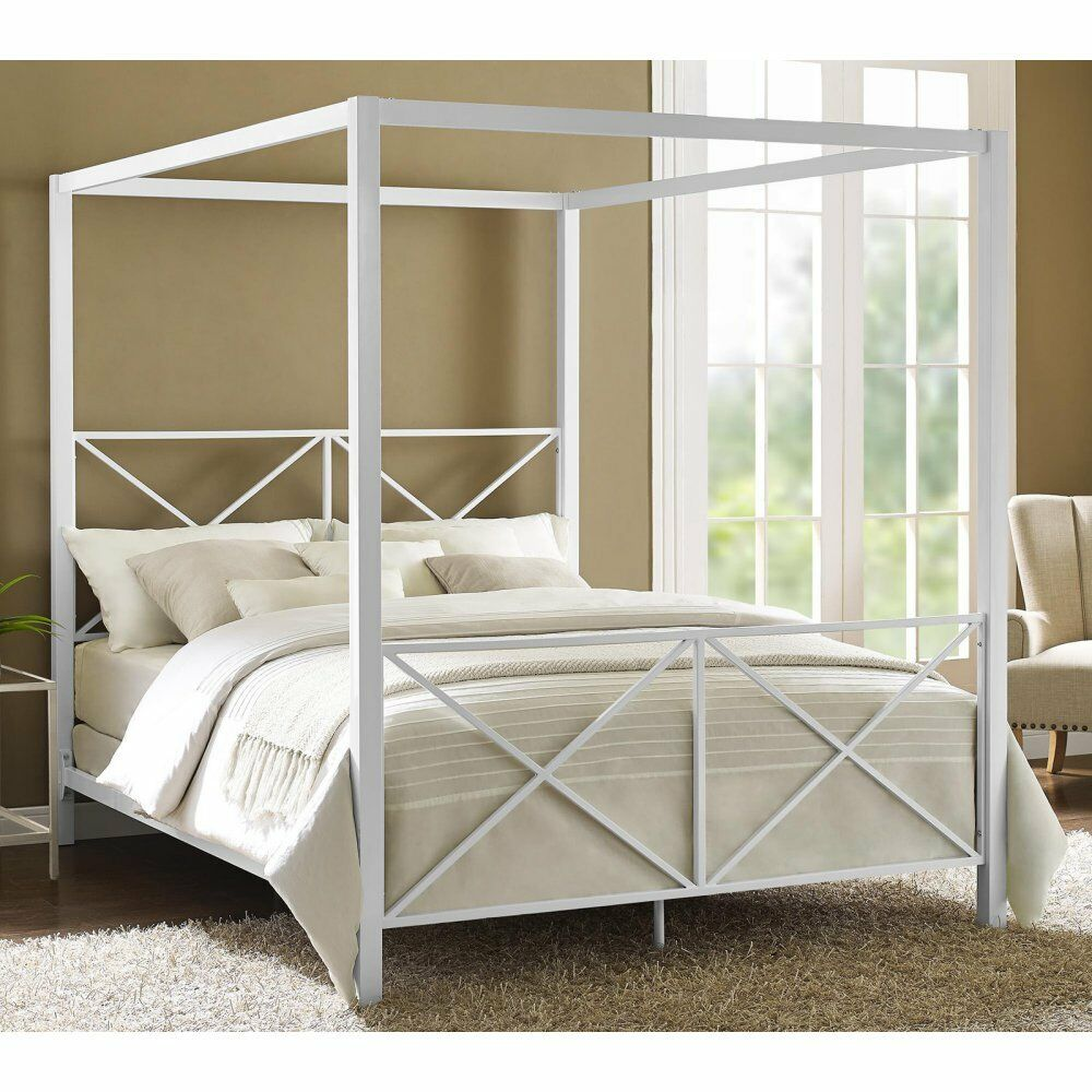 Details About Four Poster Bed Frame Canopy Queen Size Modern Platform Bedroom Furniture White