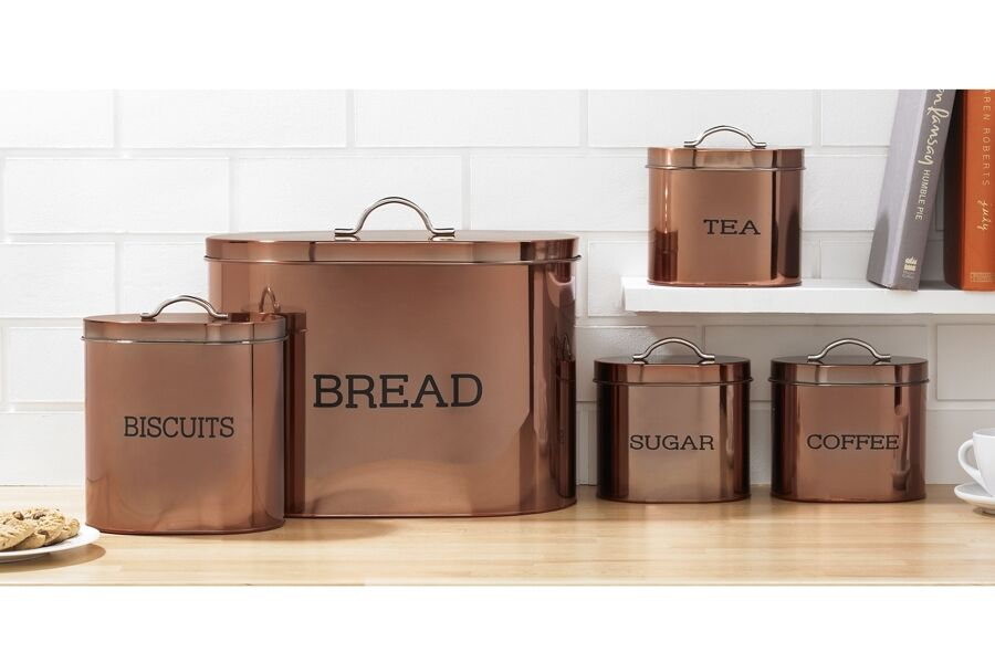 4 Pc Bronze Copper Kitchen Storage Set Tea Coffee Cans Canisters