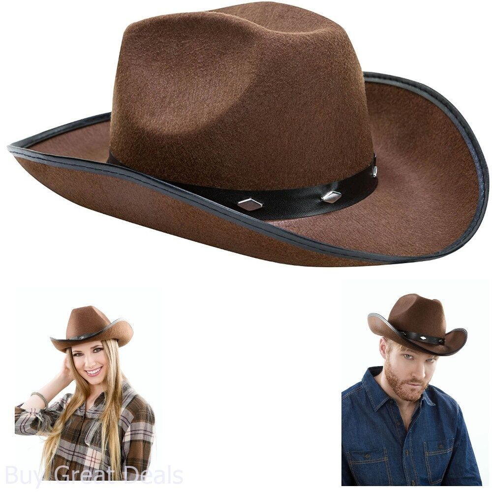 e83a9307623c5 Kangaroo Brown Studded Vintage Look Cowboy Western Hat Ladies Men Women Girl