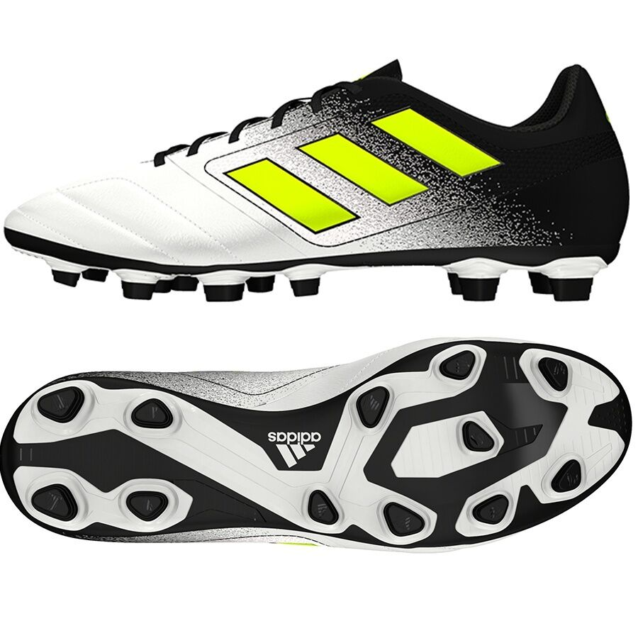 6ac73cfd6ad Details about Adidas Men s ACE 17.4 FxG Soccer White Yellow S77090 Sz 8 - 11