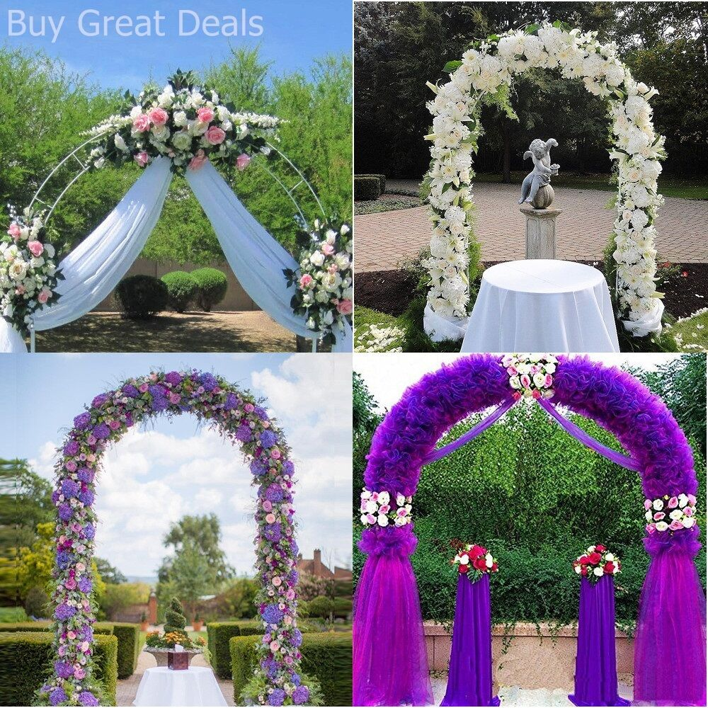 Wedding Flower Decoration Photos: White Metal Garden Arch Archway Wedding Ceremony Flower