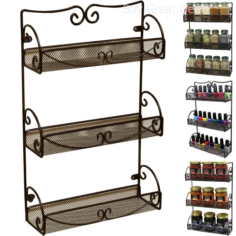 Wall Cabinet Spice Rack: Spice Rack 3 Tier Wall Mounted Holder Storage Shelf