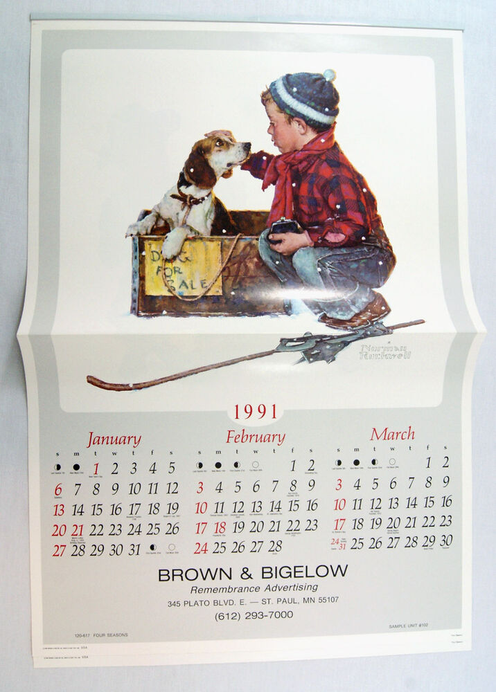 Vintage 1991 2019 Norman Rockwell A Boy And His Dog Calendar Matches