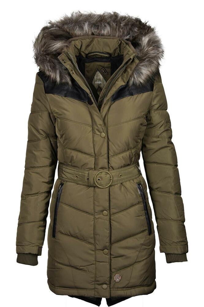 khujo lubeck damen winter jacke stepp parka mantel lang b504 ebay. Black Bedroom Furniture Sets. Home Design Ideas