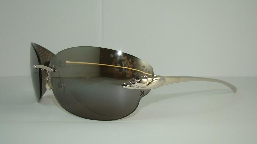 33bc6c5e3d452 CARTIER PANTHERE T8200848 SMOOTH PLATINUM FINISH SUNGLASSES Grey Mirrored  Lens 7612456779626