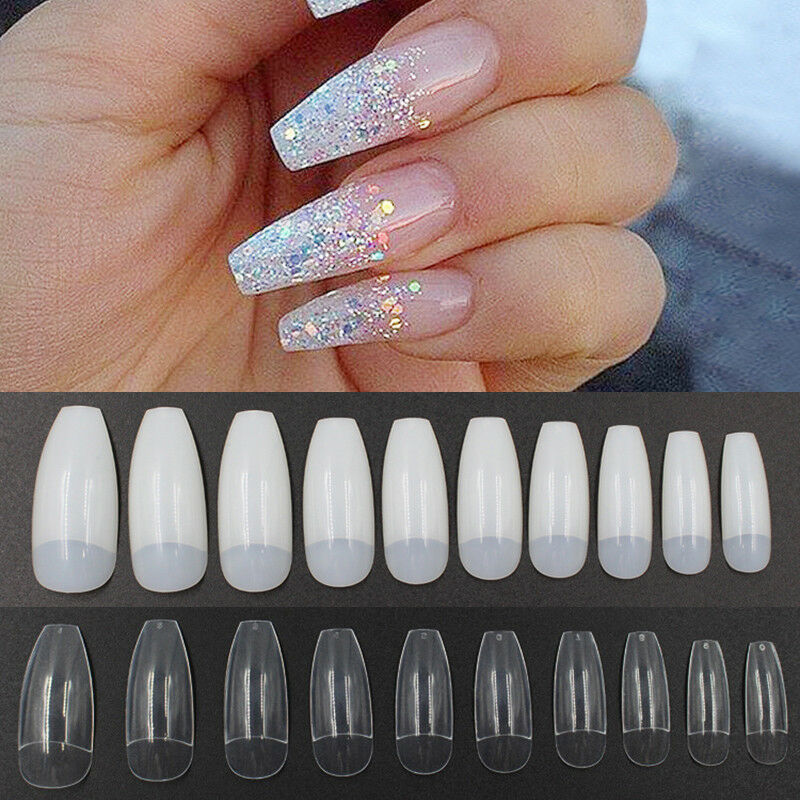 Long Nail Shapes: 500pcs Elegant Long Ballerina Coffin Shape False Nails