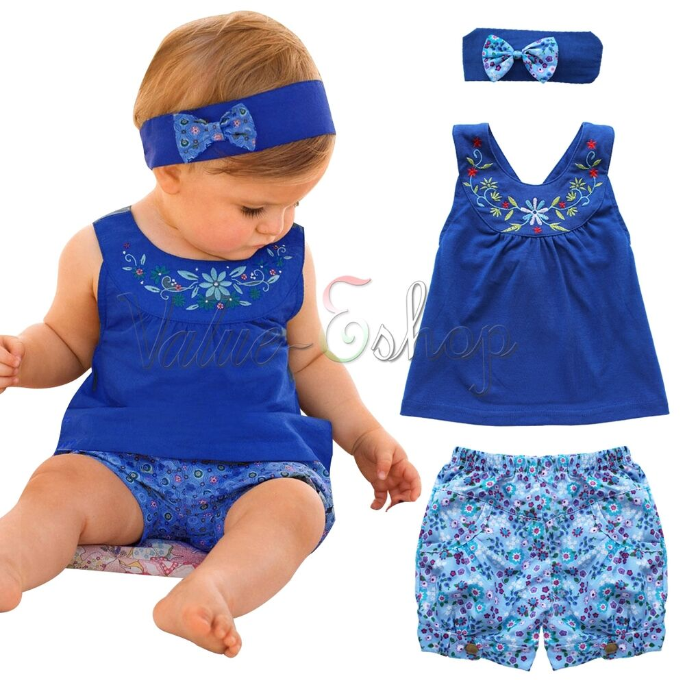 17e53821fb53 Details about Newborn Baby Girl Romper Tops Jumpsuit Pants Headband Outfit  Clothes Set