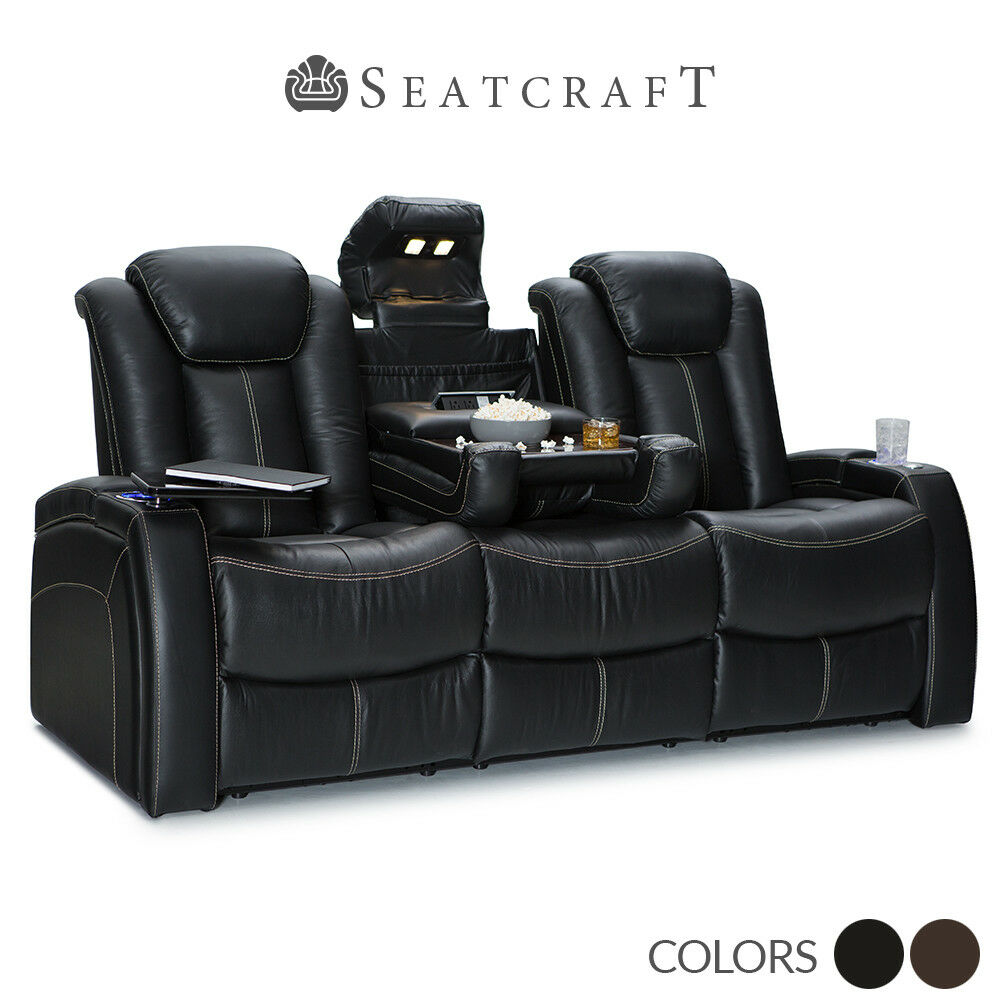 Seatcraft Republic Leather Home Theater Seating Sofa With
