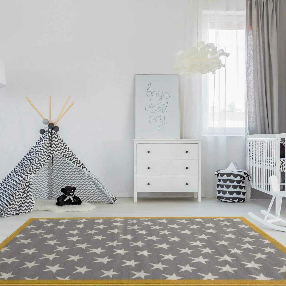 Trendy Ochre Grey Kids Star Space Carpet Bedroom Nursery