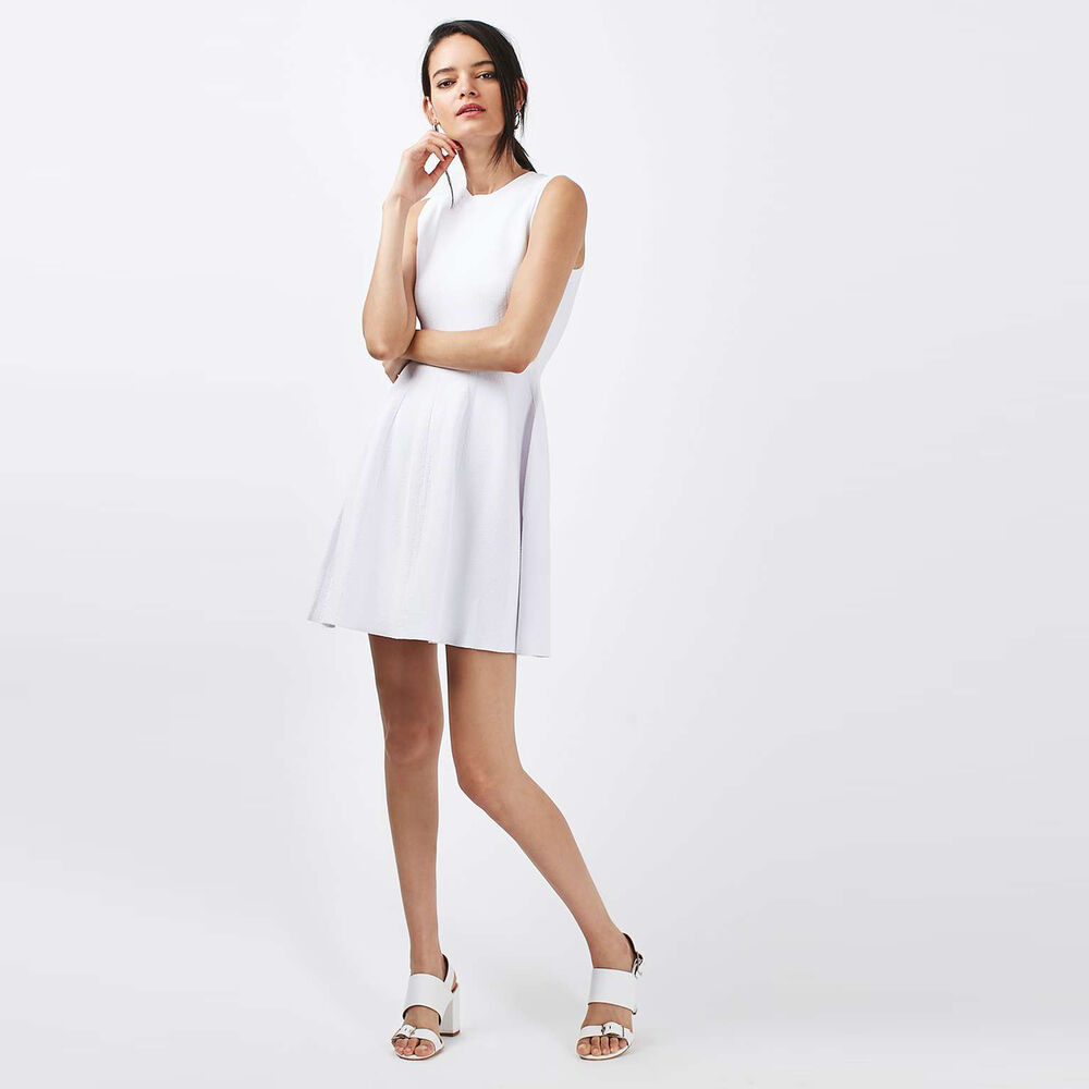 19f9b70b3711 Details about Topshop White TEXTURED Skater Dress Size 6 8 10 12 14 16 -  RRP £56