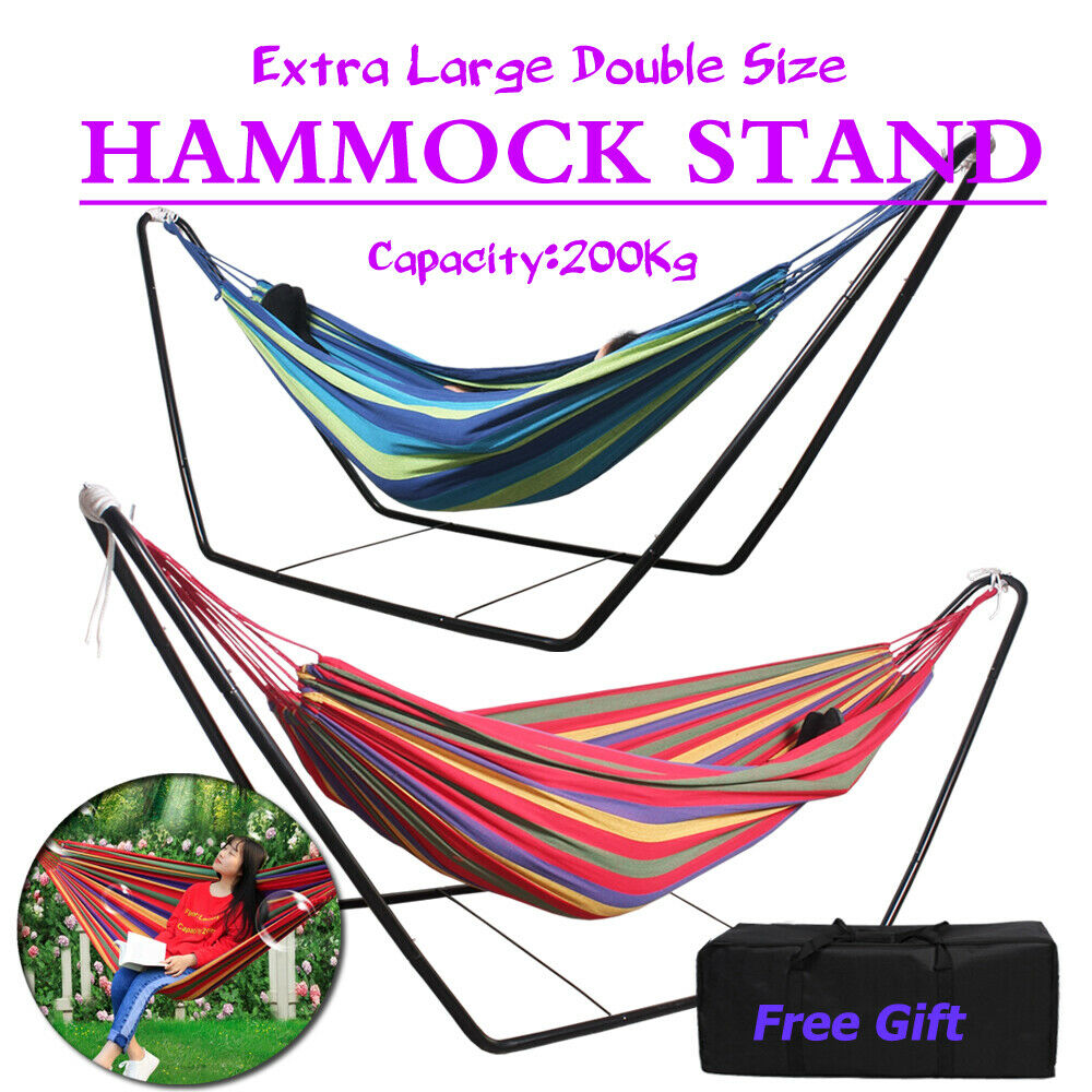arc fabric feet prime double garden hammock with wood stand ft alone