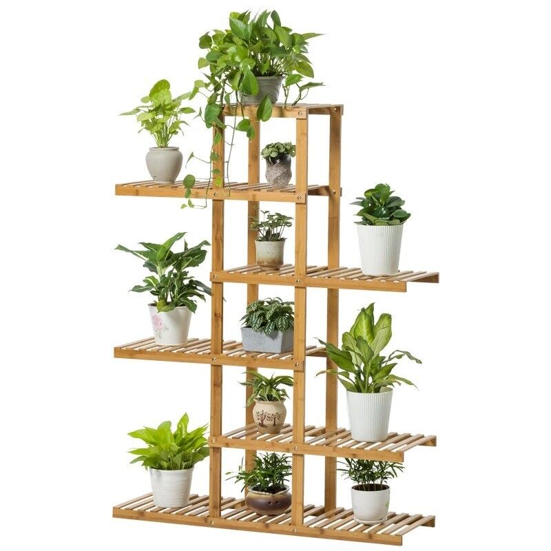 Bamboo wooden plant stand indoor outdoor garden planter for Plant shelf plans