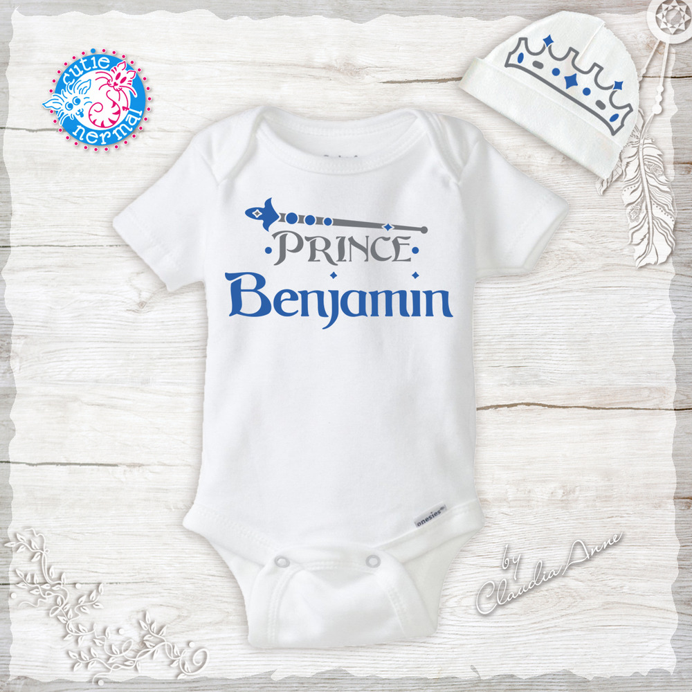 607dea58e Details about Personalized Name Prince Baby Boy Clothes Onesies & Hat Baby  Shower Gift Set