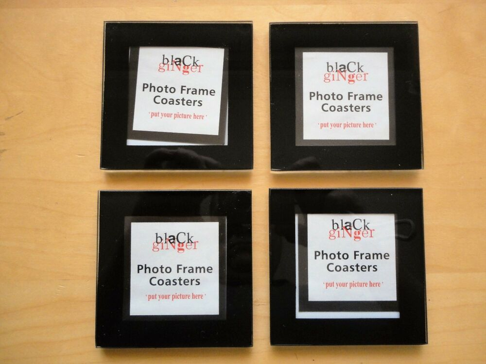 Black Ginger Personalised Photo Frame Glass Drink Coasters Set of 4 ...