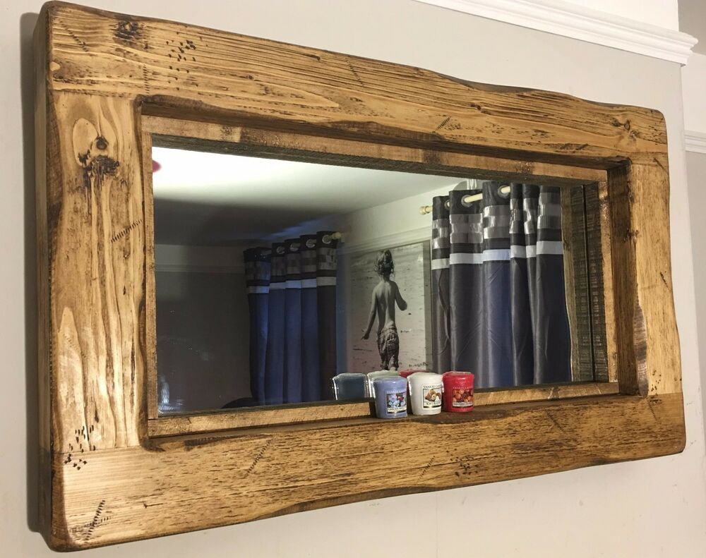 Reclaimed wooden rustic farmhouse wall mirror rugger brown wax reclaimed wooden rustic farmhouse wall mirror rugger brown wax medium oak ebay altavistaventures Images