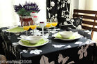 Rural Style Cotton Flowers Pattern Black Table Cloth / Cover 140cm X 180cm