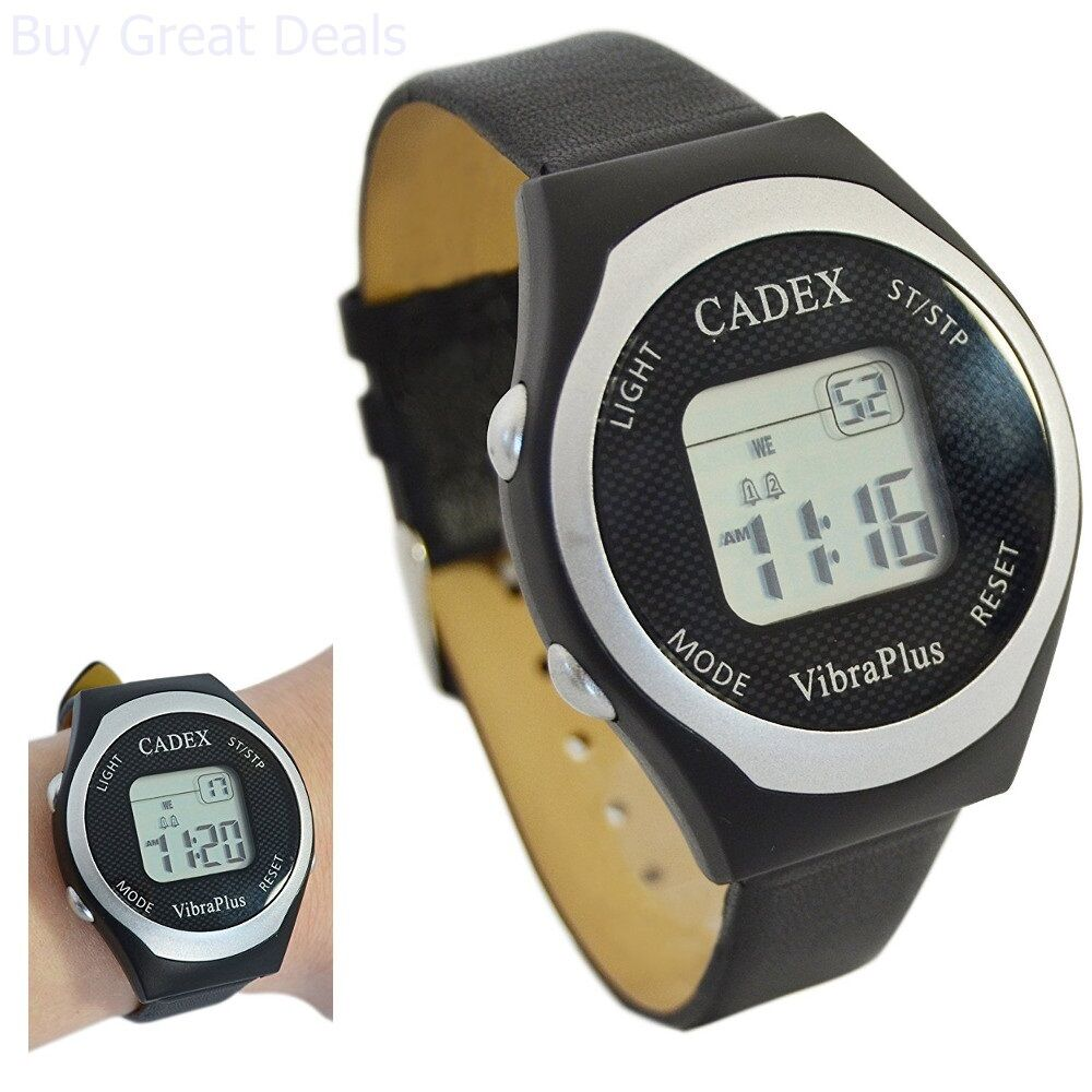 Brand new e pill cadex vibraplus 8 alarm digital vibrating reminder watch 837066000541 ebay for Cadex watches