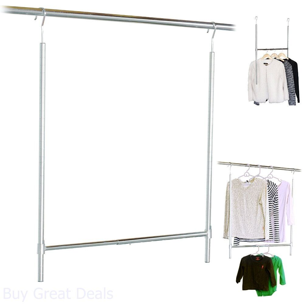 Genial Hanging Closet Rod Bar Pole Adjustable Height Steel Chrome Plated Brand New