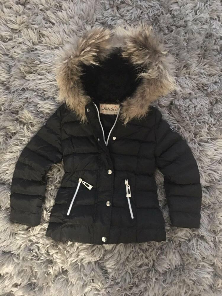 ecfc69372d5f Girl s Puffer Jacket Coat hood and removable faux fur trim 4 to 14 ...