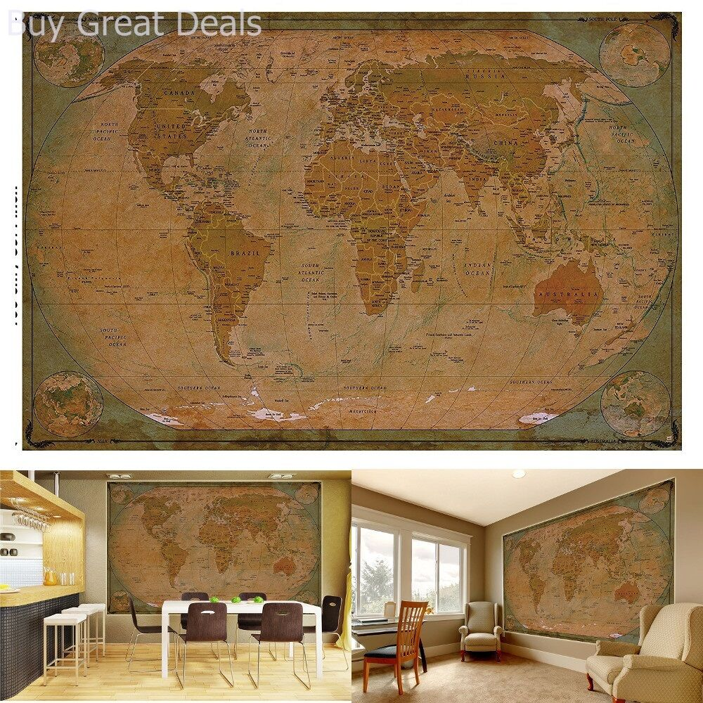 Historical world map poster xxl wall picture decoration globe historical world map poster xxl wall picture decoration globe antique look gumiabroncs Choice Image