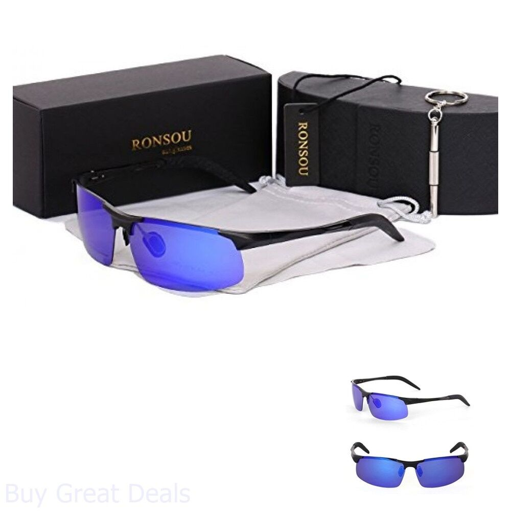 f697ce4407 Ronsou Men Sport Al-Mg Polarized Sunglasses Unbreakable For Driving Cycling
