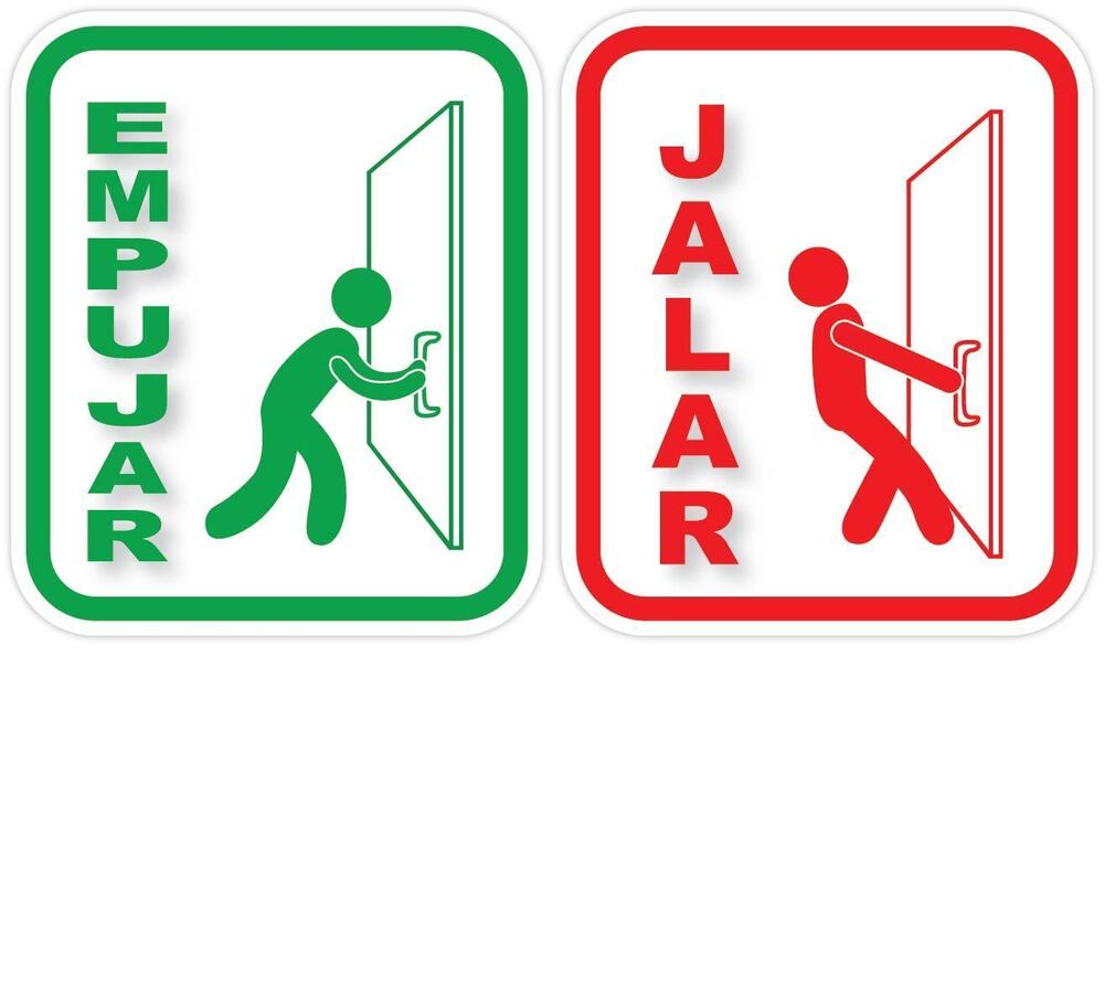 EMPUJAR JALAR Spanish PUSH PULL Vinyl Sticker Decal Sign ...