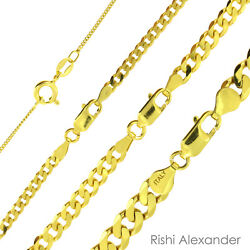 Kyпить 14k Gold over 925 Sterling Silver Curb Cuban Mens Women Chain Necklace All Sizes на еВаy.соm