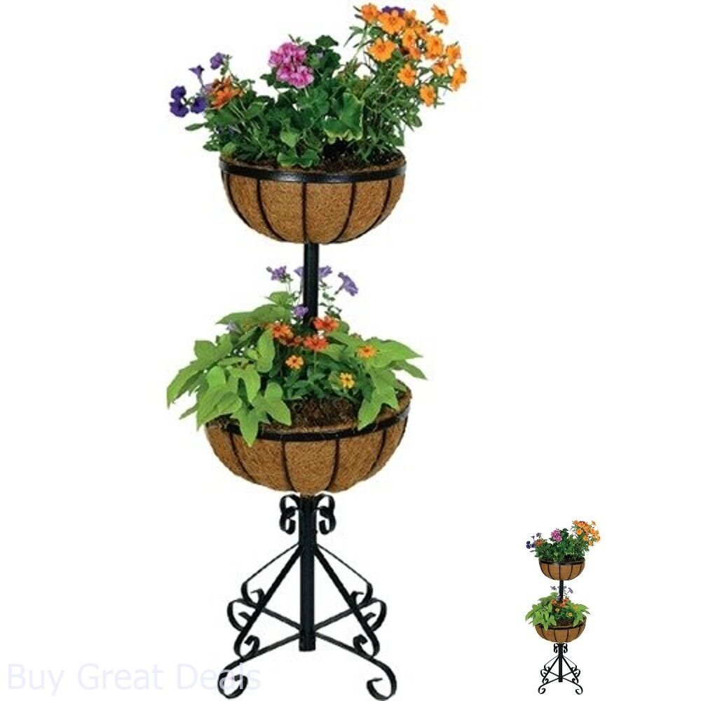 Rectangle Raised Flower Box Planter Bed 2 Tier Soil Pots: Outdoor Patio Garden Pot Bed 2 Tier Forge Planter Coco