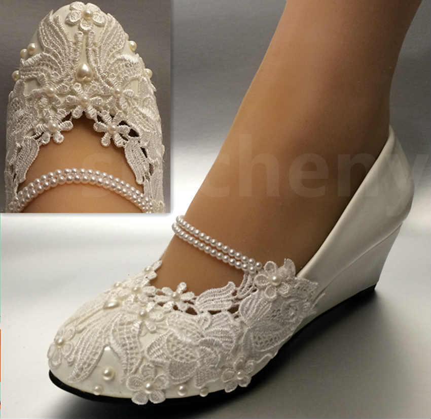 flat wedding shoes for bride white light ivory lace wedding shoes flat low high heel 4099
