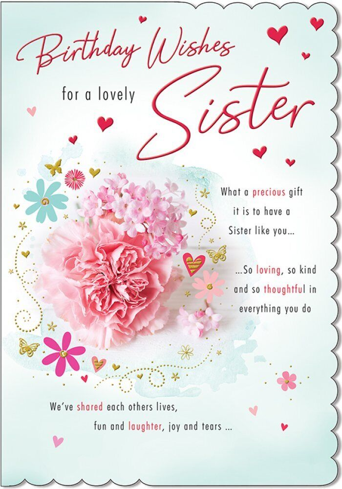 Details About To A Lovely Sister With Special Birthday Wishes Card
