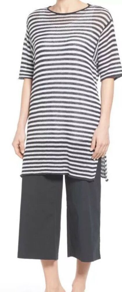 762cbff601 Details about Eileen Fisher Graphite White Organic Linen Striped Short  Sleeve Tunic Sweater L