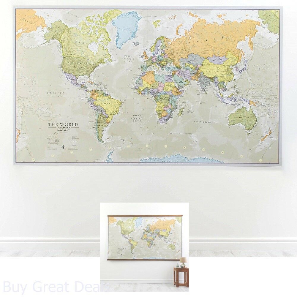 Wall Map World Classic Large Poster Front Laminated Huge School Home
