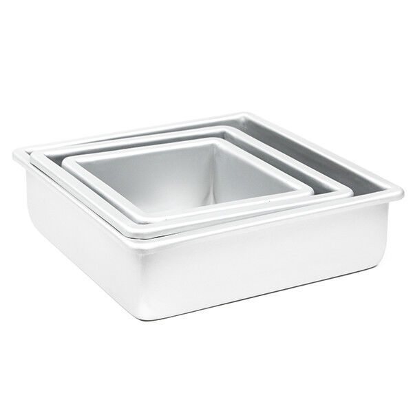 Fat Daddio S Cake Baking Pan Set Of 3 Square 3 Inches Even