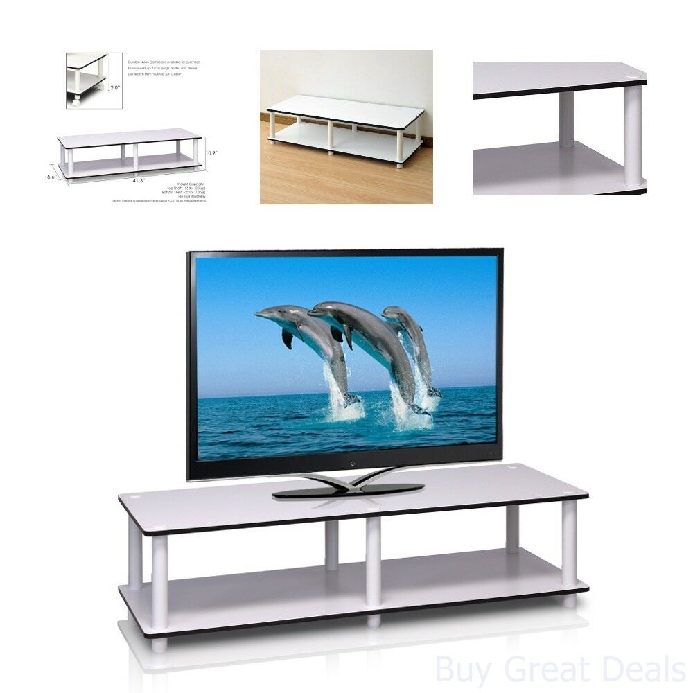 Low TV Stand Flat Screens Entertainment Center White Small