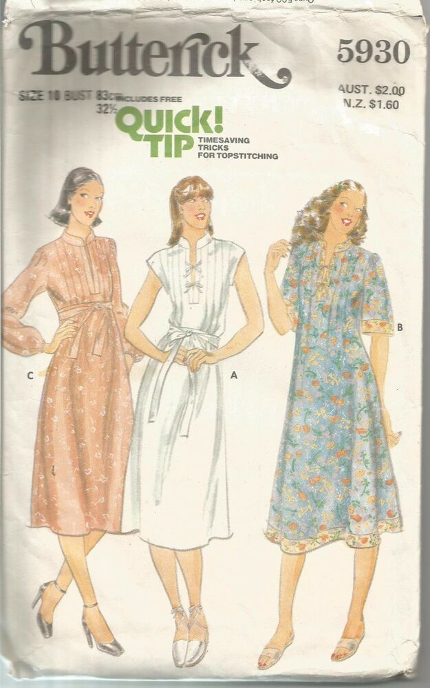 Butterick Sewing Pattern 5930, Vintage Dress with Front Tucks, Size ...