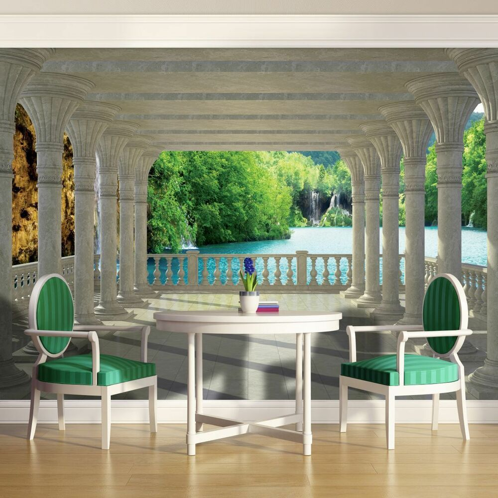 vlies tapete fototapete tapeten terrasse blick natur wasserfall 3d 14n1357vexxxl ebay. Black Bedroom Furniture Sets. Home Design Ideas