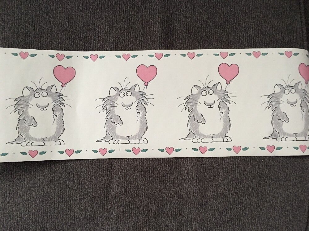 Details about Love Cat w/ Heart Balloon RARE New Roll SANDRA BOYNTON Wallpaper Border 5 Yds 7""