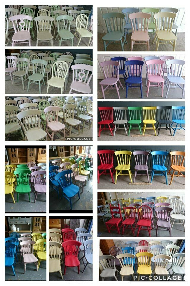 Mix Match Painted Vintage Farmhouse Kitchen Dining Chairs