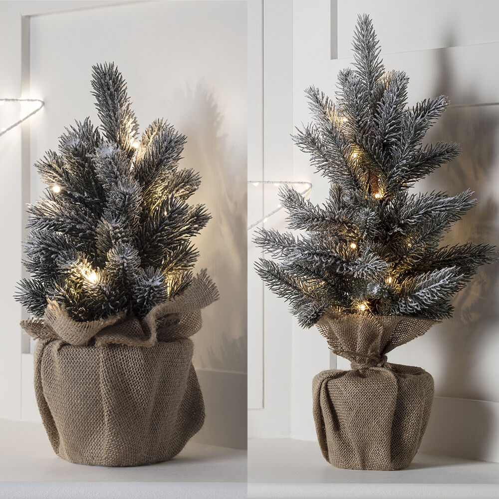 Artificial Christmas Trees Pre Lit Led: Pre Lit Warm White LED Mini Frosted Table Top Artificial