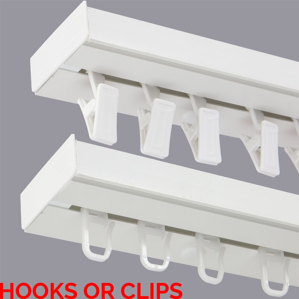 Single Curtain Rail Track PCV Ceiling SET With HOOKS Or